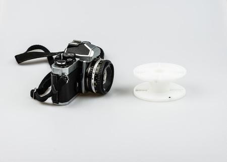 darkroom: Vintage 35mm analog camera and developing spiral