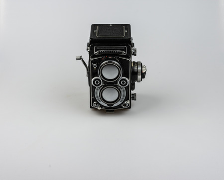 darkroom: Medium format bioptical Room, analog photography Stock Photo