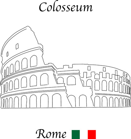 colosseo: Colosseum, Rome, vector illustration isolated on a white background