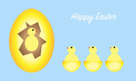 Happy Easter greeting card with eggs and chicks, pale blue background, vector illustration