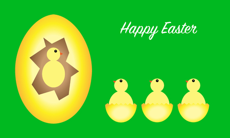 Happy Easter greeting card with eggs and chicks, green background, vector illustration