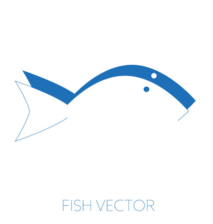 Generic minimal fish vector illustration, drawing blue monochrome, negative positive silhouette Illustration