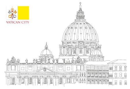 Vatican illustration on white backdrop, view of Saint Peters Basilica and Vatican flag. Illustration
