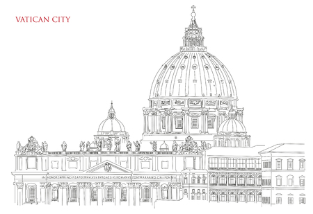Vatican minimal vector illustration on white background, view of Saint Peters Basilica and Vatican flag