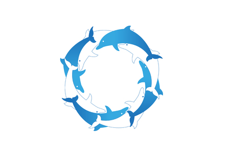Blue and white dolphins in circle vector illustration Illustration