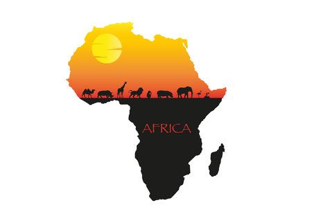 Afrika Sonnenuntergang Illustration, Vektor-Postkarte mit wilden Tieren Silhouette Standard-Bild - 76711447