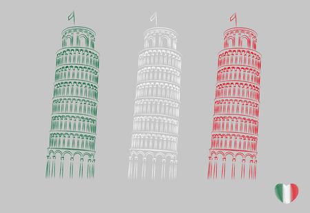 Pisa leaning tower minimal vector illustration