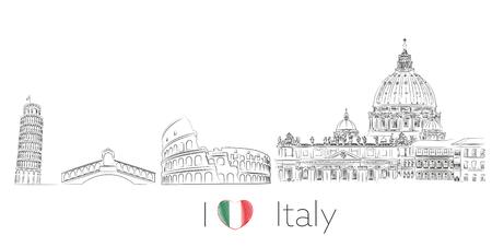 Italien Illustration Postkarte Standard-Bild - 76891481