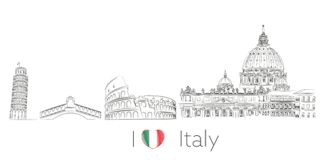 Italy illustration postcard