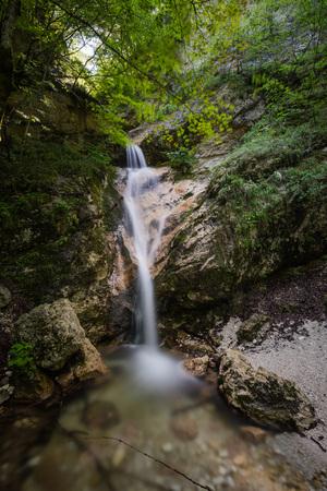 La Camosciara waterfall, Abruzzo National Park, Italy Standard-Bild - 107406470