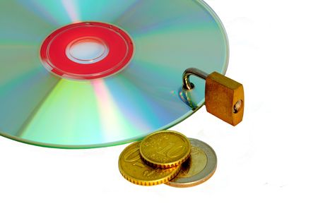 Disc under lock and key and money isolated on a white background. photo