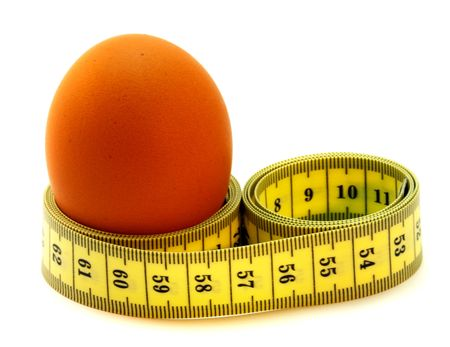 abstinence: A egg with a measuring tape around it.