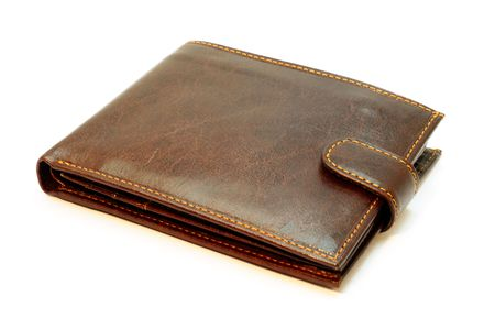 Brown leather wallet. Isolated on white. photo