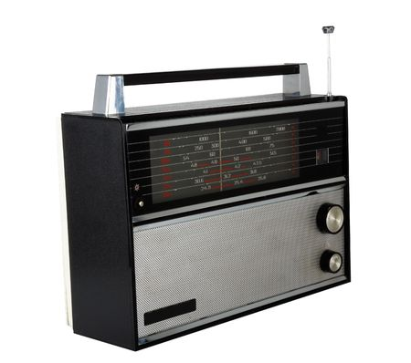 20 years old: A retro radio set, 20 or 30 years old. Isolated.