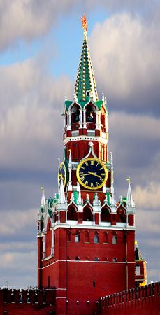 Moscow Kremlin. The Spasskaya Tower is the main tower with a through-passage on the eastern wall of the Moscow Kremlin, which overlooks the Red Square. photo