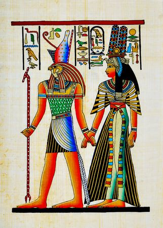 ancient egypt: Papyrus with elements of egyptian ancient history