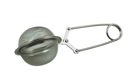 strainer: Tea strainer isolated on a white background.