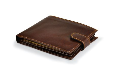 Brown leather wallet with light shadow. Isolated on white.  photo