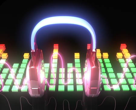 Headphones with a bright neon wave on black background Stock Photo - 27585571