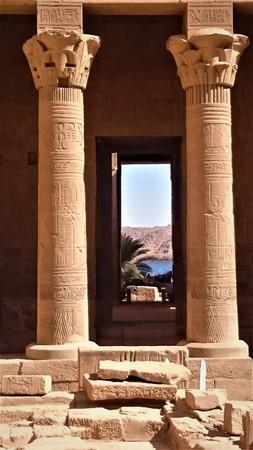 nile view through the temple door between the pillars Stock Photo