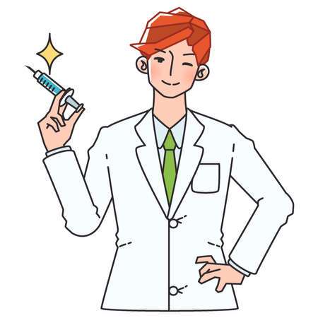 Illustration of a doctor in a white coat holding a syringe