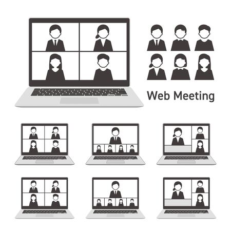 Web meeting with laptop computer Set Monochrome