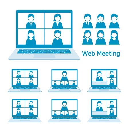 Web meeting with laptop computer  set blue