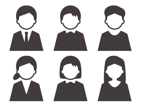 Person icon gender set silhouette simple black