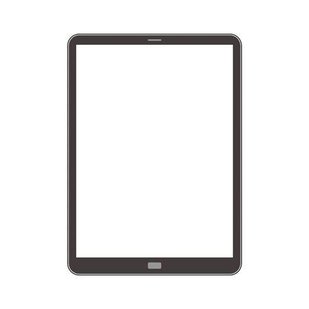 Tablet with contour illustration single simple monochrome Illustration