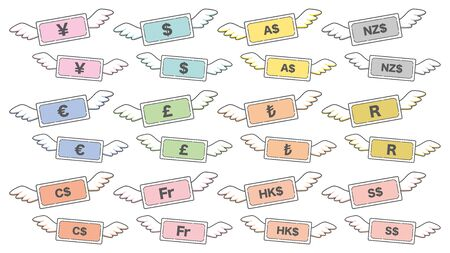Simple icons set of flying world banknotes Illustration