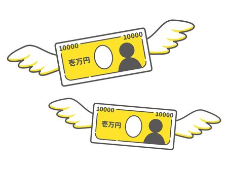 Simple icon of a flying 10,000 yen bill 向量圖像