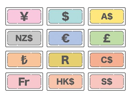 World currency banknotes simple icons Illustration