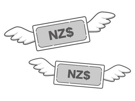 Simple icon of flying NZ dollar bill Illusztráció
