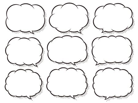 Comic style speech bubbles set that can change the position of the tail 向量圖像