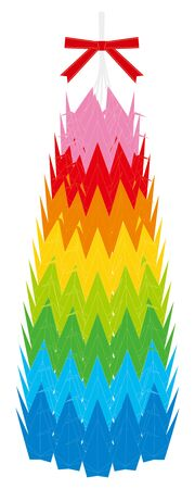 Vector illustration of origami thousand paper cranes