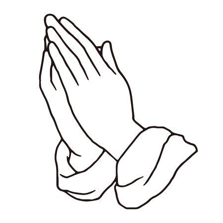 Praying hands pen drawing vector illustration Vektorové ilustrace