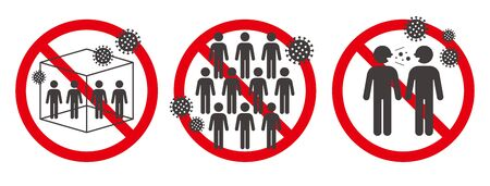 illustration Vector of Three Cs for COVID-19 infection prevention