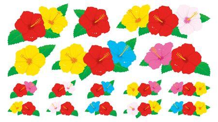 Vector illustration set of vivid hibiscus flowers