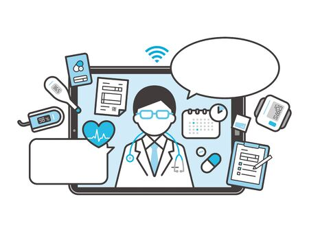 Vector illustration icon of online doctor