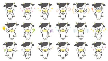 Cow character illustration, basic pose set
