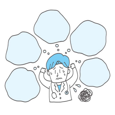 Troublesome doctors, speech bubbles with copy space, loose hand-drawn illustration cut. 向量圖像