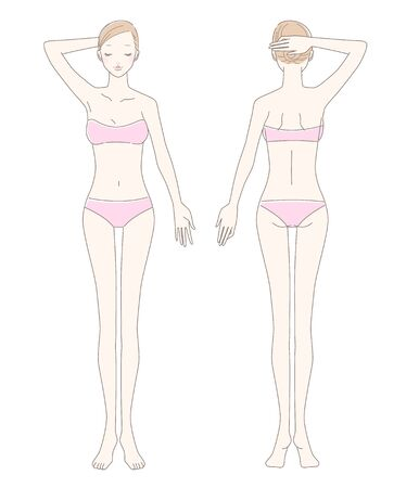 Full body (front and back) of a woman in underwear Vektorové ilustrace