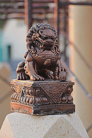vehement: Chinese sculpture, Brass statue in front of the chinese temple in Thailand  Stock Photo
