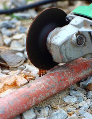 grind: Rectificadora moler la tuber�a utilizada Foto de archivo