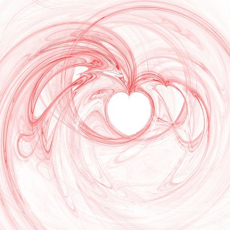 rendered flame fractal with heart shapes photo