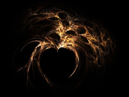 flaming heart: high resolution flame fractal forming a flaming heart