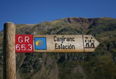 camino de santiago: Waymarking on the Camino de Santiago in Spain, long distance pilgrimage, Europe, mountains intentionally out of focus