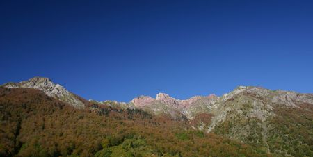 panorama taken in the french (Pre)Pyrenees, department Pyrenees atlantique, plenty of copy space Stock Photo - 610414