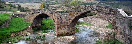 navarra: romanic bridge in Monreal, Navarra, Spain Stock Photo