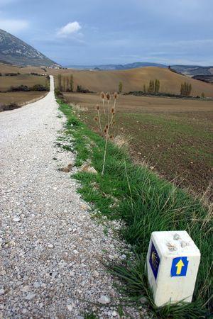 Camino de Santiago, long distance foot pilgrimage, Navarra, Spain, Europe, actual path Stock Photo - 630914